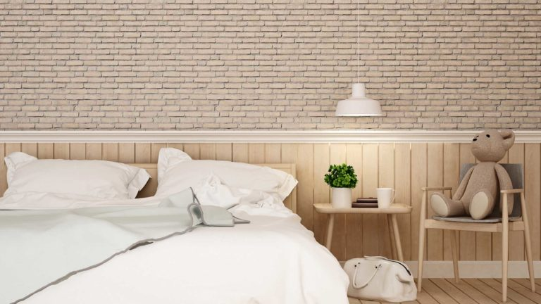 T&G Sheeting & Panel Boards Products: bedroom with kid space and brick wall in home or apartment